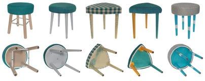 Handmade табуретка в различных дизайнах и цветах Триангулярный и rou Стоковая Фотография