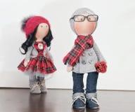 Handmade тряпичные куклы с естественными волосами Стоковое Изображение