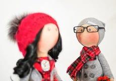 Handmade тряпичные куклы с естественными волосами Стоковые Фотографии RF