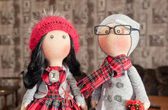Handmade тряпичные куклы с естественными волосами Стоковые Изображения RF
