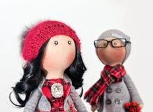 Handmade тряпичные куклы с естественными волосами Стоковые Фото