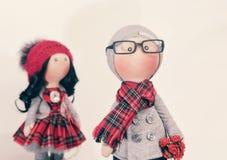 Handmade тряпичные куклы с естественными волосами Стоковые Изображения