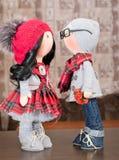 Handmade тряпичные куклы с естественными волосами Стоковое Изображение RF