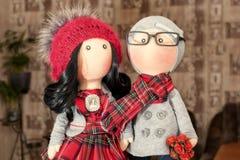 Handmade тряпичные куклы с естественными волосами Стоковая Фотография RF