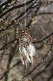 Handmade улавливатель американской мечтаы коренного американца на предпосылке утесов Стоковые Изображения RF