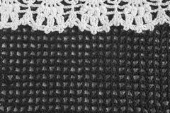 Handmade черно-белая картина рамки вязания крючком Стоковая Фотография RF