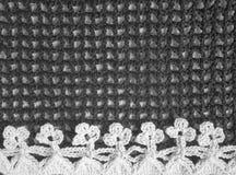 Handmade черно-белая картина рамки вязания крючком Стоковые Изображения