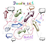 Handmade эскиз doodle, комплект вектора Стоковые Изображения