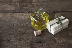 Куски мыла оливкового масла handmade Стоковые Изображения