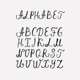 Handmade ABC font typography. Vector Hand Drawn Font on white background. Letters written with a brush pen. Ink ABC Royalty Free Stock Image