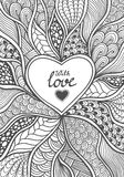 Handmade Abstract Herat frame in Zen-doodle style black on white. Coloring page for coloring book or creative Post Card for Valentines Day Royalty Free Stock Photo