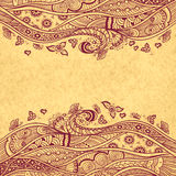 Handmade Abstract pattern background in Zen-doodle style on grunge beige Stock Image