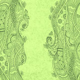 Handmade Abstract pattern background in Zen-doodle style on grunge green Royalty Free Stock Photography