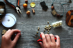 Handmade accessories. Making tools for handcraft stock image