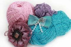 Handmade accessories - three skeins on white Stock Photography