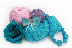 Handmade accessories - three skeins on white Stock Images