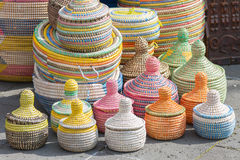 Handmade African Sea Grass Baskets Royalty Free Stock Images