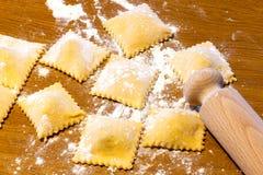 Handmade Agnolotti, типичные макаронные изделия Пьемонта Стоковые Фото