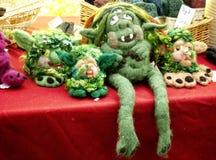 Handmade alpaca troll dolls made of fur Stock Photos