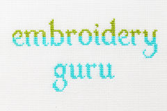Handmade Amateur embroidery addicted guru. A series of embroidered inscriptions. Amateur embroidery addicted guru. Title for the real professional stock image