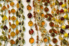 Handmade amber necklaces Stock Image