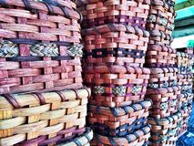 Handmade Amish Baskets for sale royalty free stock photos