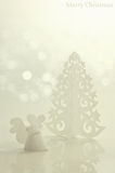 Handmade angel and Christmas tree Royalty Free Stock Images