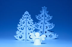 Handmade angel and Christmas trees Stock Photos