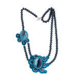 Handmade aquamarine necklace. Stock Photos