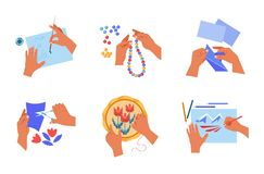 Free Handmade Art Or Craft Human Hands Hobby Isolated Icons Royalty Free Stock Image - 153174736