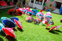 Handmade Art Umbrella for show and sale traveler at Bo-sang Hand Royalty Free Stock Photo