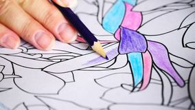 The handmade of artists. 4K The handmade of pencil coloring stock video