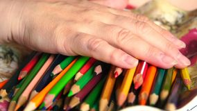The handmade of artists. Slow motion The handmade of pencil coloring stock footage