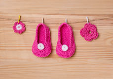 Handmade baby socks. Baby clothes and Handmade baby socks Stock Images