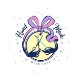 Handmade badge with ribbon bow with scissors and brush. for the seamstress needlewoman, creative personality royalty free illustration