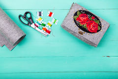Handmade Bag Of Felt Royalty Free Stock Photos
