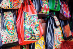 Handmade bags decorated with traditional Chinese embroidery Stock Image
