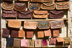Handmade bags in an Indian market. Royalty Free Stock Photo
