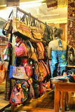 Handmade bags. Silks are produced by several other insects, but generally only the silk of moth caterpillars has been used for textile manufacturing. There has Stock Photo