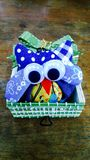 Handmade bamboo box with handmade owl Stock Photography