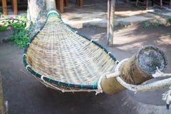 Handmade bamboo hammock craft weave in the garden Stock Photography