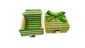 Handmade bambus boksuje zielonego kolor Fotografia Stock