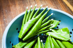 Handmade bananowego liścia ryżowa ofiara Zdjęcie Stock
