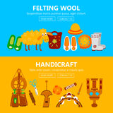 Handmade banners with instruments for felting Stock Images