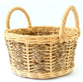 Handmade basket. Blank Handmade basket on white background royalty free stock photography