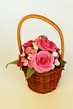 Handmade basket with flowers Stock Photography