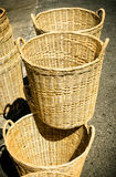 Handmade basket made from bamboo Stock Photos