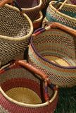 Handmade baskets # 2. Handmade woven baskets stacked for display Royalty Free Stock Image