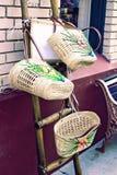 Handmade baskets at market Stock Photos