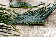 Handmade Baskets from Palm Leaves Royalty Free Stock Photography